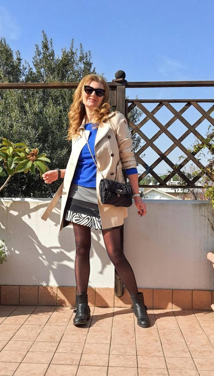 trench coat and miniskirt