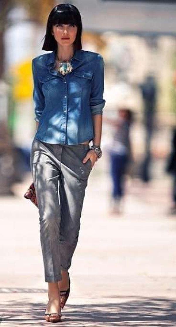 Pinterest, camicia di jeans e pantalone elegante