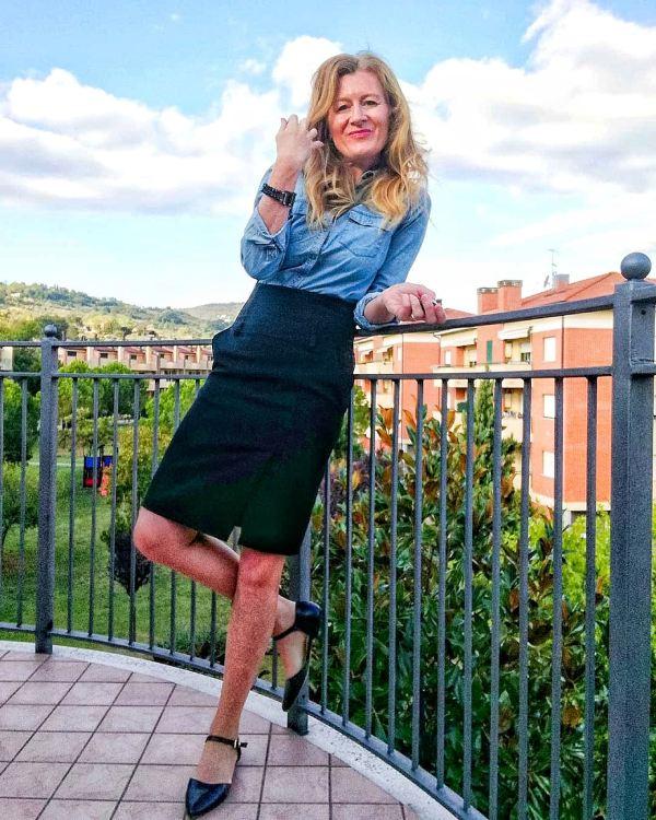 denim blouse and elegant skirt