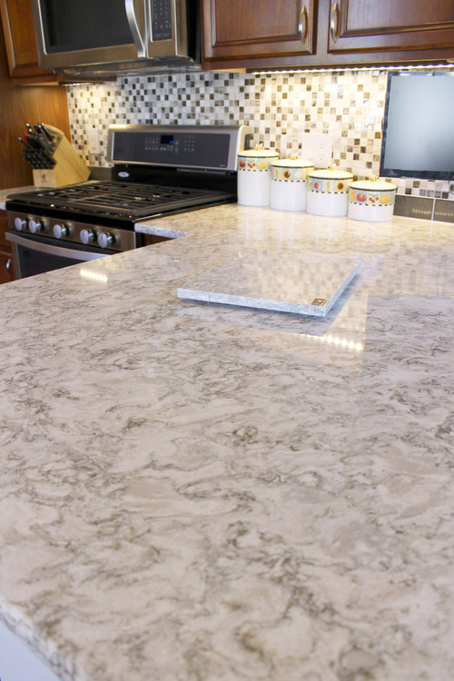 Kitchen Update with Gray Quartz Countertops and Tile Backsplash ~ Strongsville