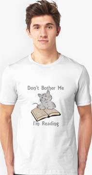 Don't Bother Me I'm Reading T-shirt with Cat