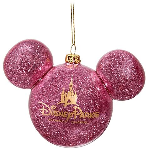 Disney Christmas Ornament Mickey Mouse Ears Ball Pink