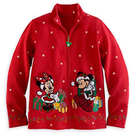 Disney Womens Jacket Christmas Santa Mickey And Minnie Mouse