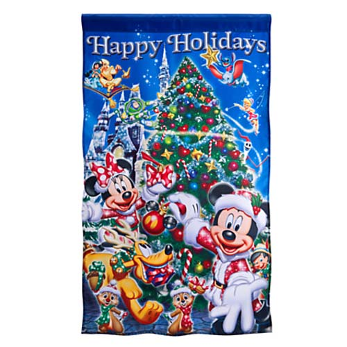 Disney Christmas Yard Flag Banner Mickey And Friends
