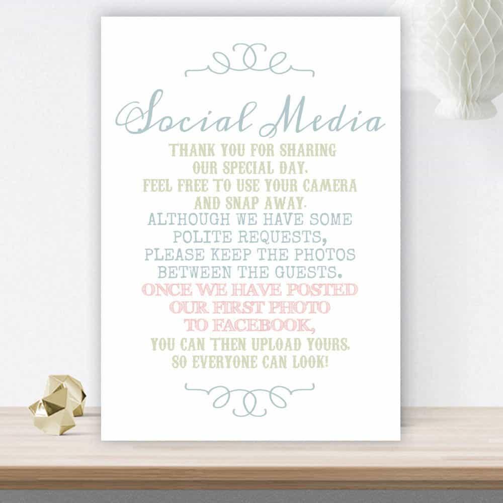 no social media wedding sign