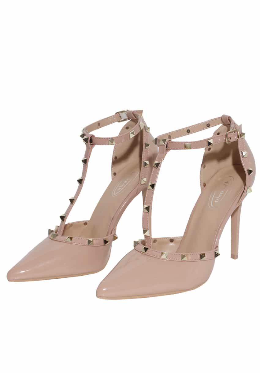 Beige pointed toe studded shoes
