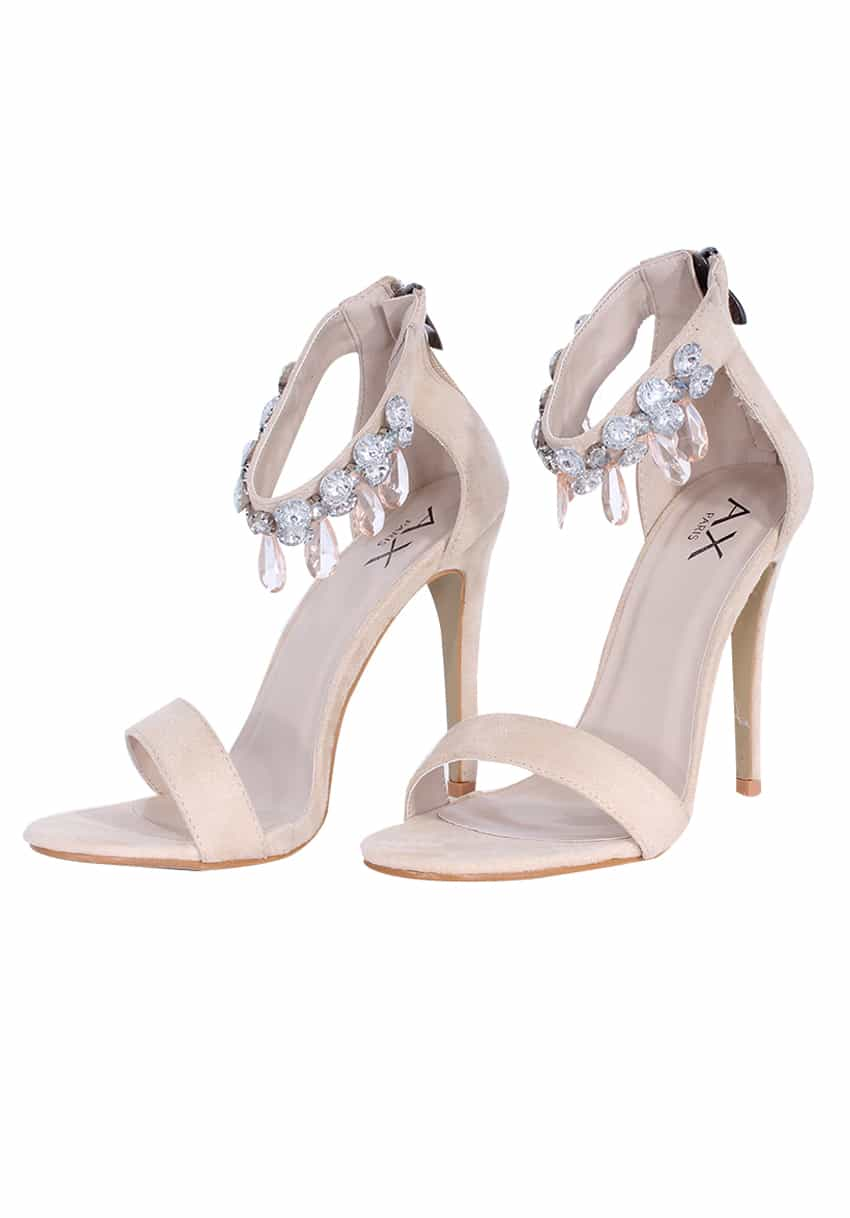 CREAM DIAMANTE BARELY THERE HEELS