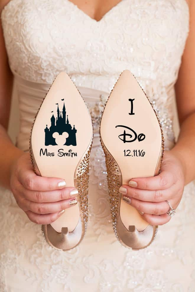 disney wedding shoe stickers