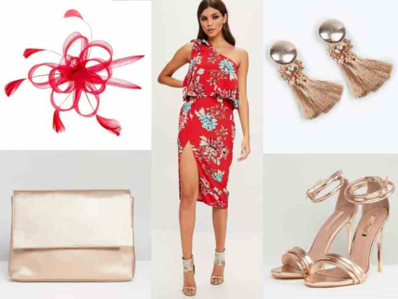 rose gold and red wedding guest outfit