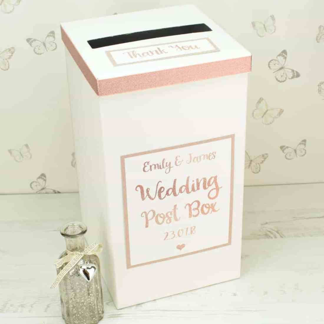 rose gold wedding postbox