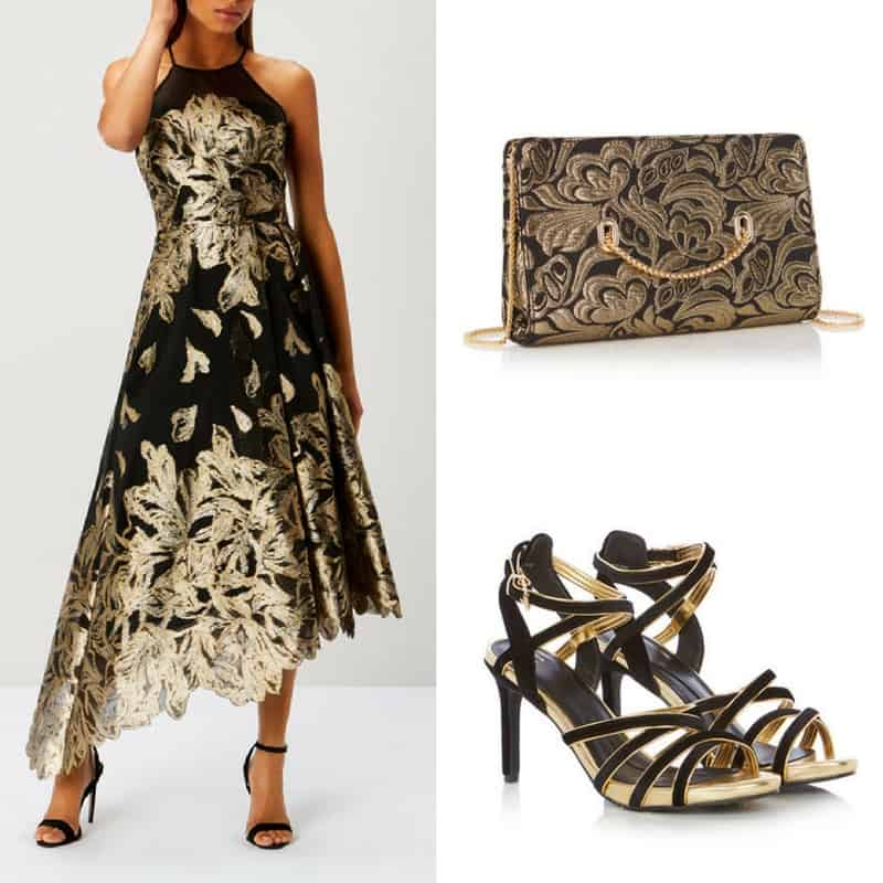 beautiful black and gold occasion outfit