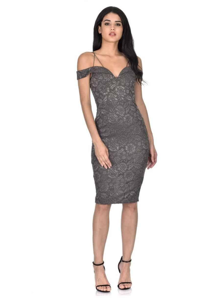 dark grey lace midi dress