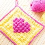 Crochet Bobble Heart Potholder
