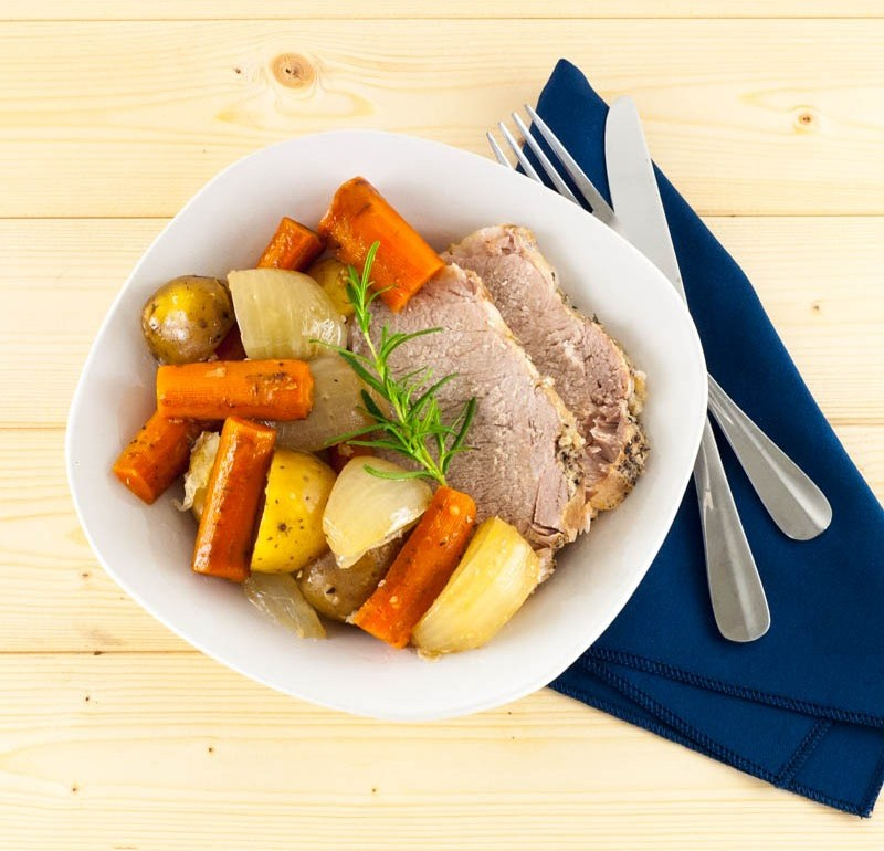 Slowcooker Pork Loin and Roasted Vegetables   YouShouldCraft.com