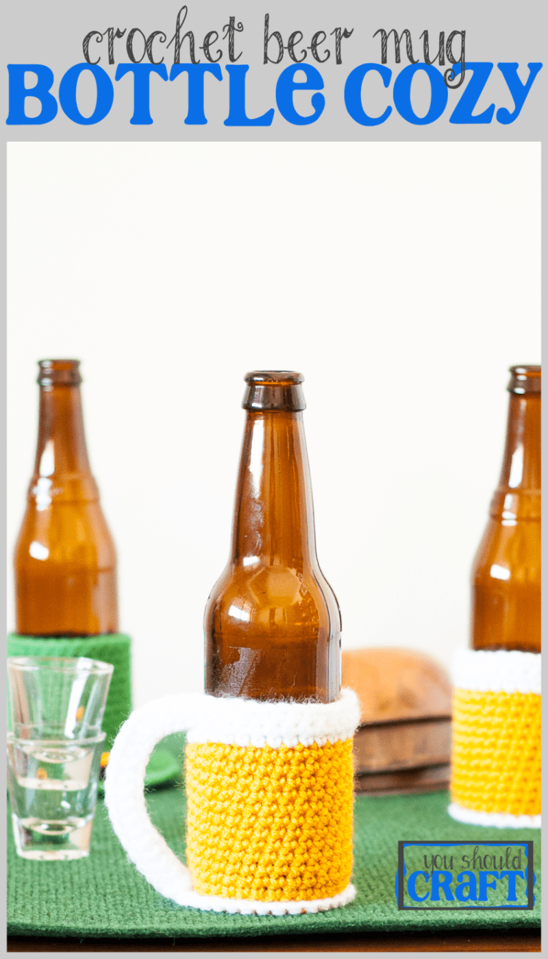 Crochet the world's cutest bottle cozy and celebrate the world's greatest beverage -- beer! Free beer mug bottle cozy crochet pattern and photo-tutorial from @YouShouldCraft. Click to make now or pin for later!