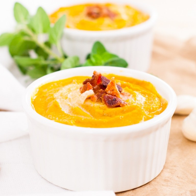 Creamy Carrot Soup with Bacon | YouShouldCraft.com #paleo