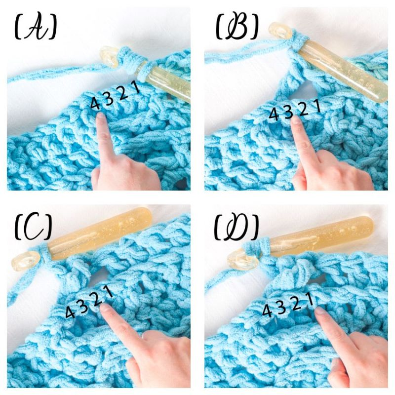 Labeled image showing four steps to  crochet the twisted cable portion of the blue chunky throw