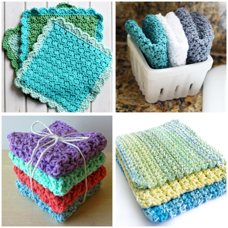 a 4-image collage of cool colored crochet dishcloths