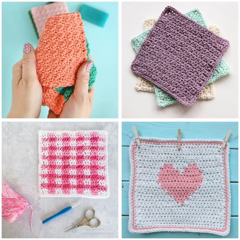 a 4-image collage of pink and purple crochet dishcloths