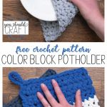 "collage of crocheted potholders with the text ""free crochet pattern: color block potholder"""