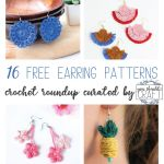"collage of crochet earrings with the text ""16 free earring patterns - crochet roundup curated by youshouldcraft"""