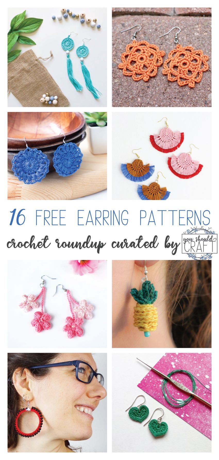 "collage of eight images of crochet earrings with the text ""16 free earring patterns - crochet roundup curated by youshouldcraft"""