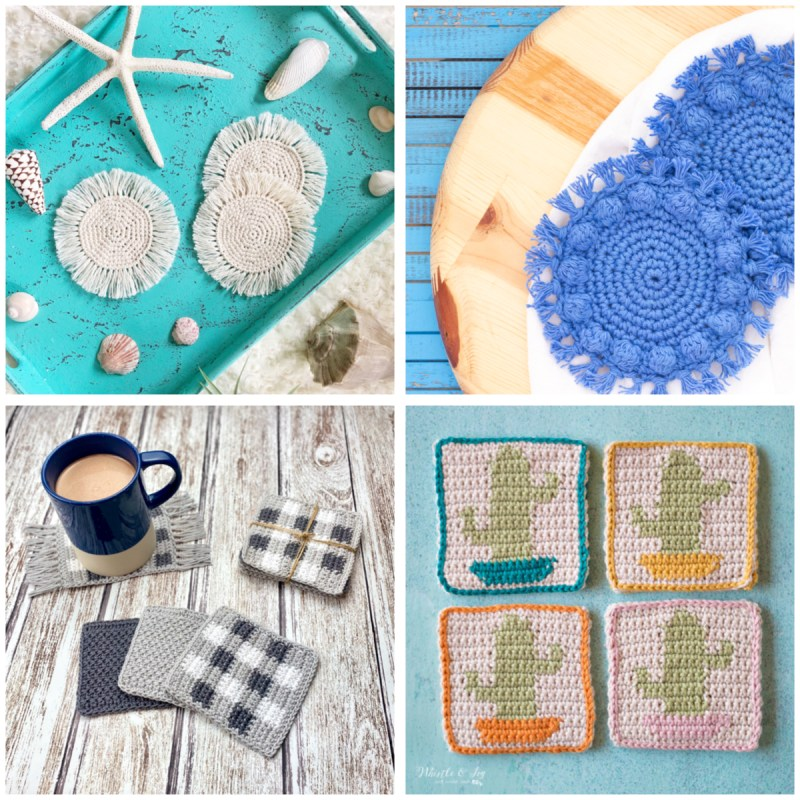 collage of four different types of crochet coasters