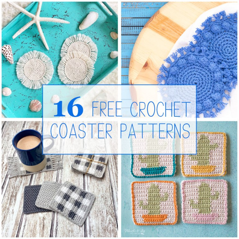 "four images of crocheted coasters with text overlay ""16 free crochet coaster patterns"""