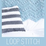 loop stitch pillow on couch with text: free crochet pattern - loop stitch pillow - you should craft