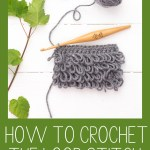 loop stitch swatch on a green background with the words free crochet tutorial - how to crochet the loop stitch - you should craft