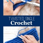 """collage of two images of twisted single crochets with the text """"free crochet tutorial - twisted single crochet - you should craft"""""""