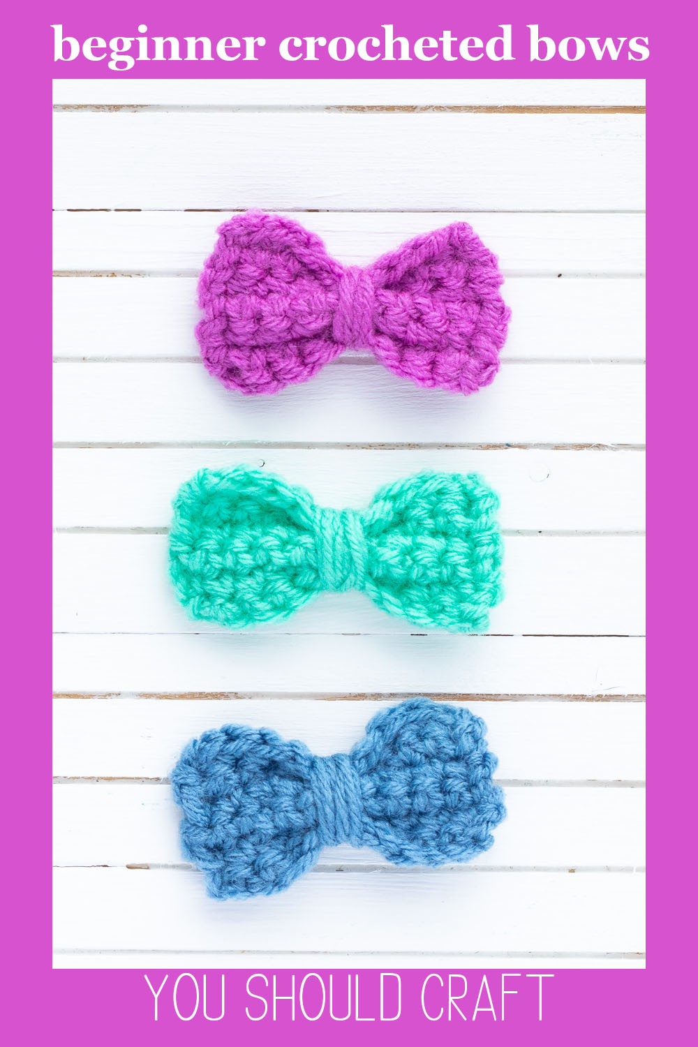 """three small crochet bows in purple, mint, and blue, with the text """"beginner crocheted bows - you should craft"""""""