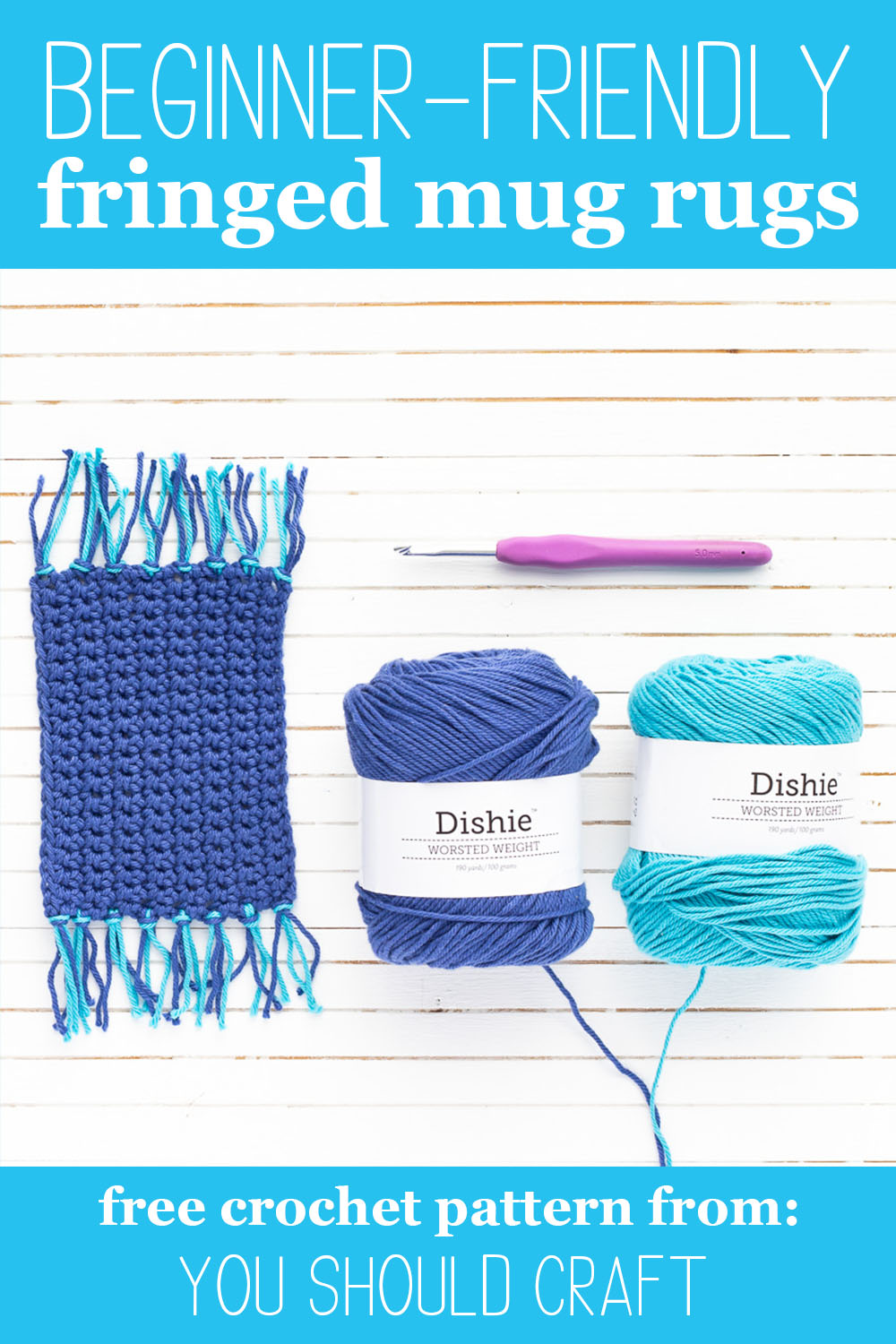 "two balls of blue yarn, a fringed mug rug, and a purple crochet hook with text overlay ""beginner friendly fringed mug rugs - free crochet pattern from: you should craft"""