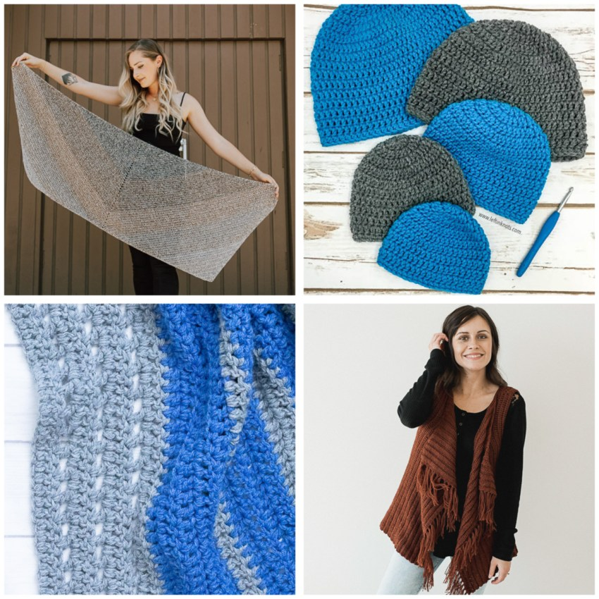 collage of four images of blue, grey, and brown crocheted items featuring the double crochet stitch