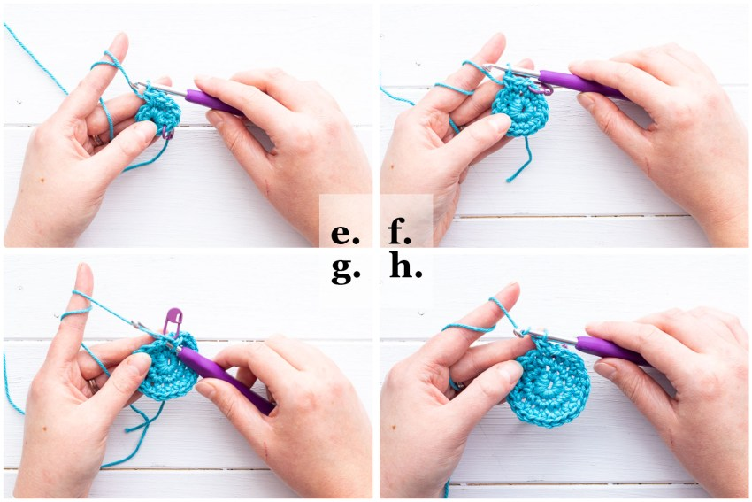 collage of four images demonstrating how to crochet in the round and make a circle