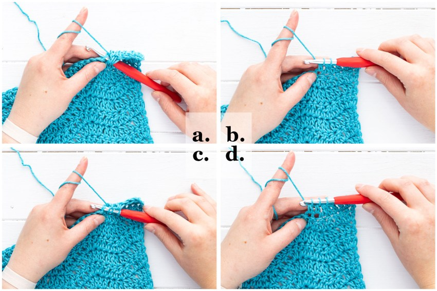 collage of four images demonstrating how to crochet a dc2tog stitch