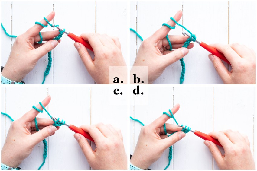 collage of four images demonstrating how to half double crochet