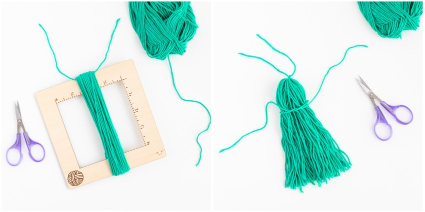 collage of two images demonstrated how to crate a tassel from teal yarn
