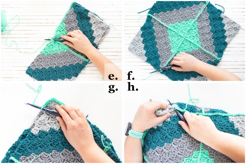 step-by-step collage demonstrating how to join the crochet pillow squares and crochet around the edges of the pillow