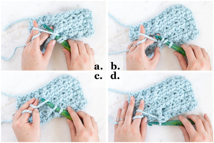 step-by-step images demonstrating how to crochet the bpdc stitch