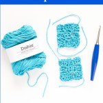 skein of dishie cotton yarn, two small corner-to-corner crochet squares, and a blue crochet hook with text overlay