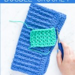 """hand holding a crochet hook over swatches with text overlay """"fpdc front post double crochet - learn how to crochet with you should craft"""""""