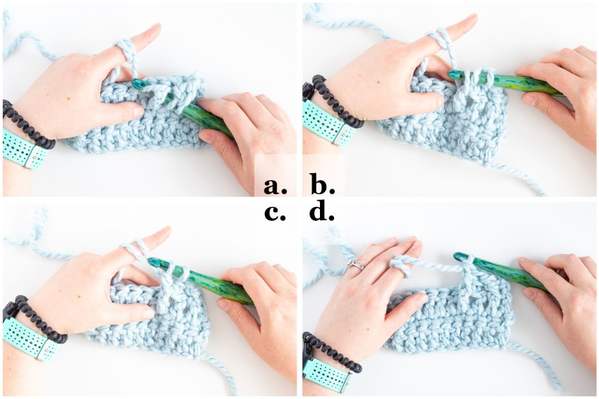 step-by-step images demonstrating how to crochet the fpdc stitch