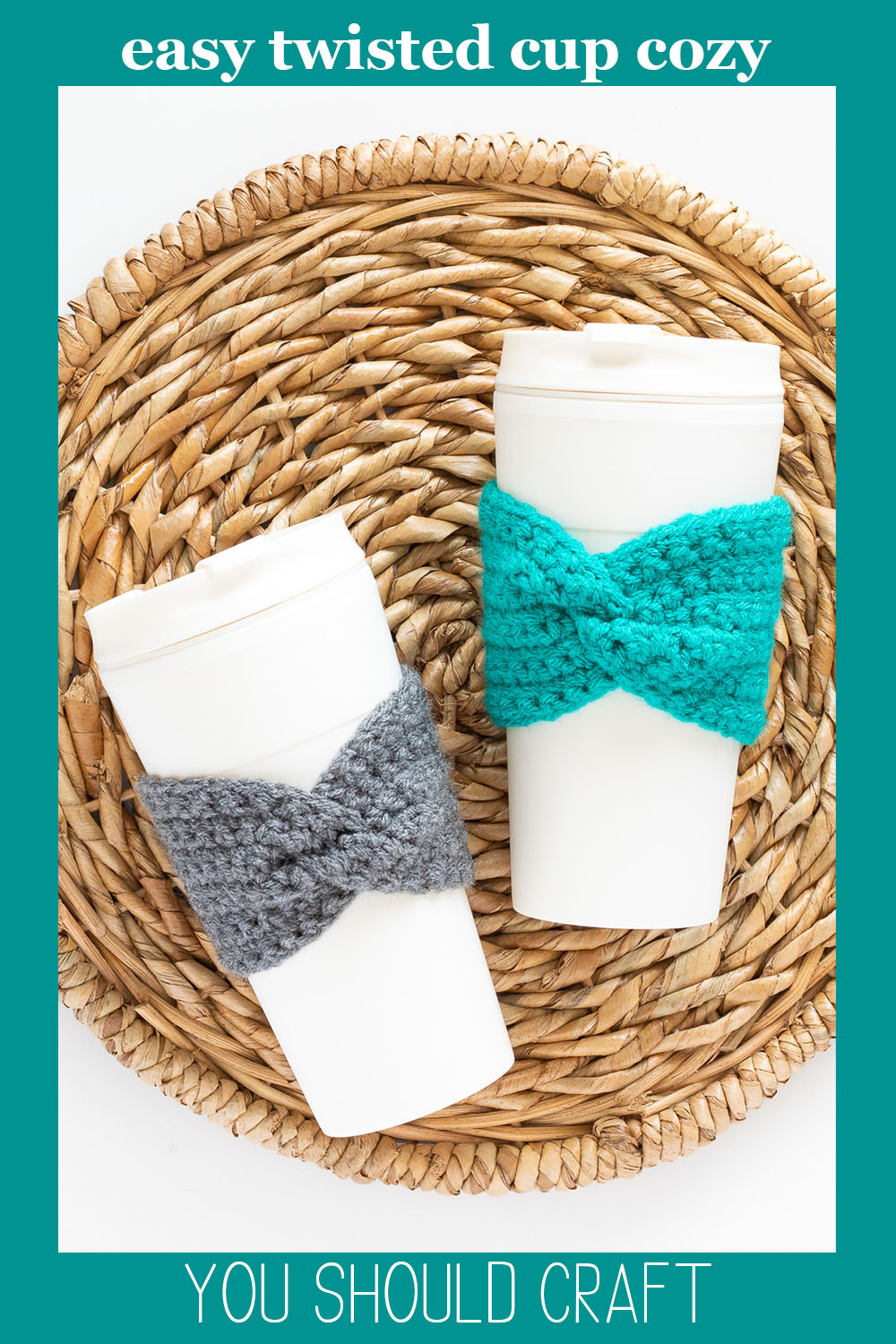 two crocheted cup cozies on cream colored coffee cups