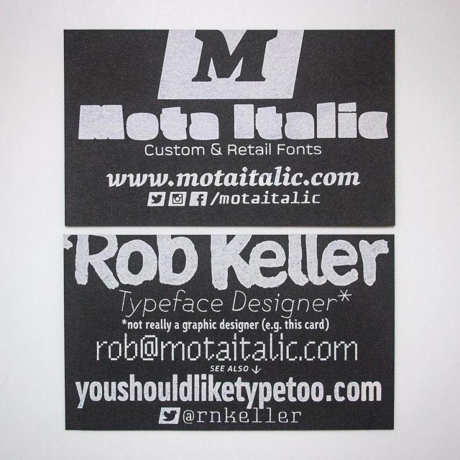 Our crazy new screen printed business cards