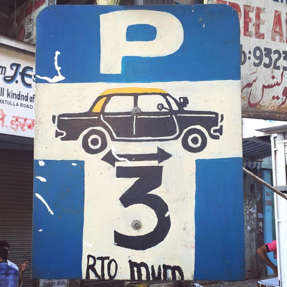 Hand painted Mumbai taxi stand sign