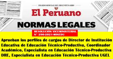 [MINEDU] Aprueban los perfiles de cargos de Director de Institución Educativa de Educación Técnico-Productiva, Coordinador Académico, Especialista en Educación Técnico-Productiva DRE, Especialista en Educación Técnico-Productiva UGEL