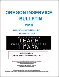 Oregon teacher professional development workshp calendar