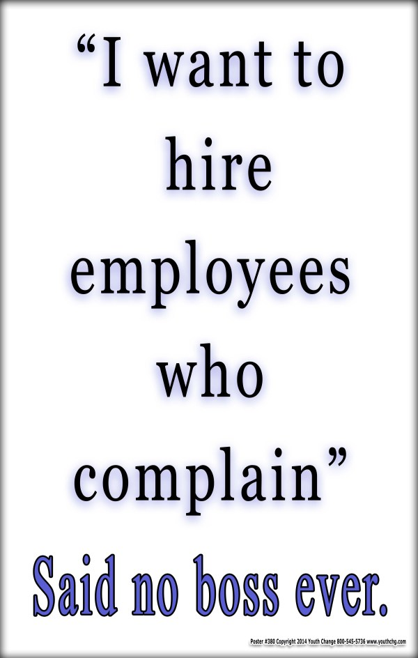 Classroom management poster stops complaining