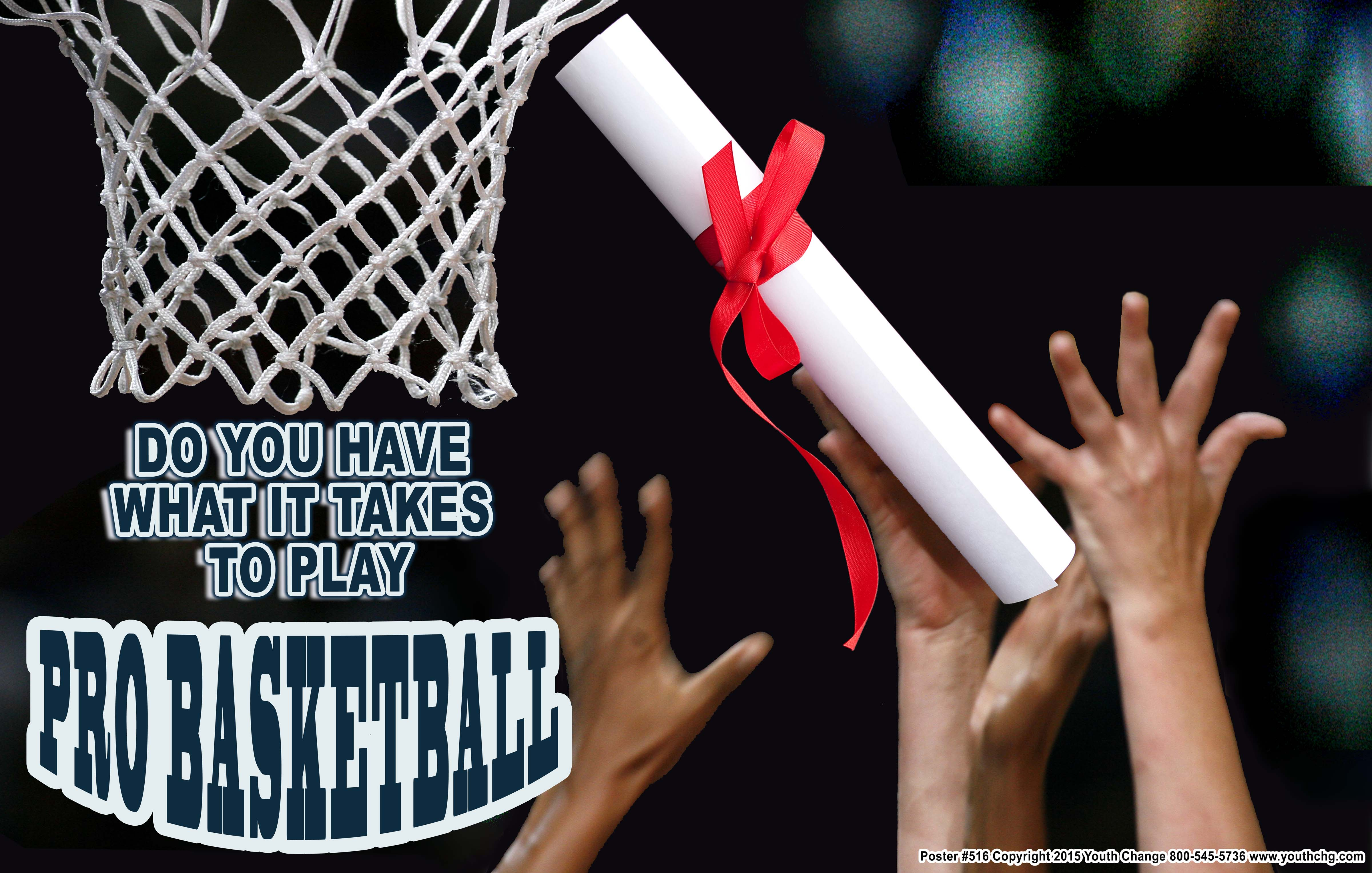 Basketball Classroom Motivational Poster Shows Students